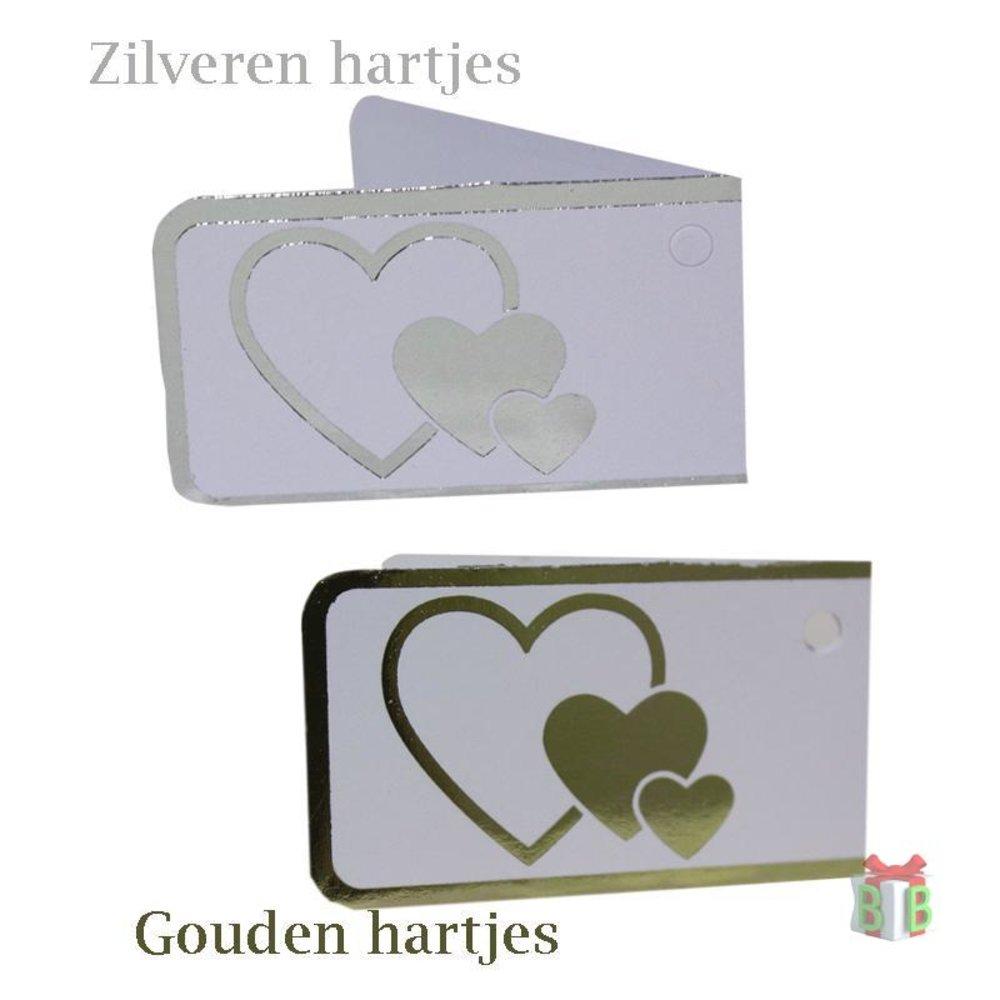 Zilver en gouden hartjes mini kaartje