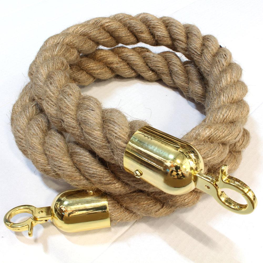 Scheepstouw van jute met een dikte van 40 mm, van 3 draden gevlochten, een lengte van 1,5 meter en aan de uiteinden gouden haken