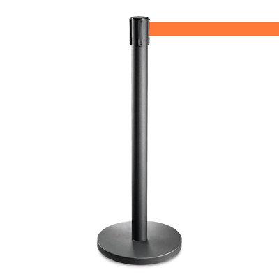 Afzetpaaltje zwart met oranje trekband