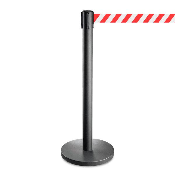 Afzetpaaltje zwart met rood/wit trekband