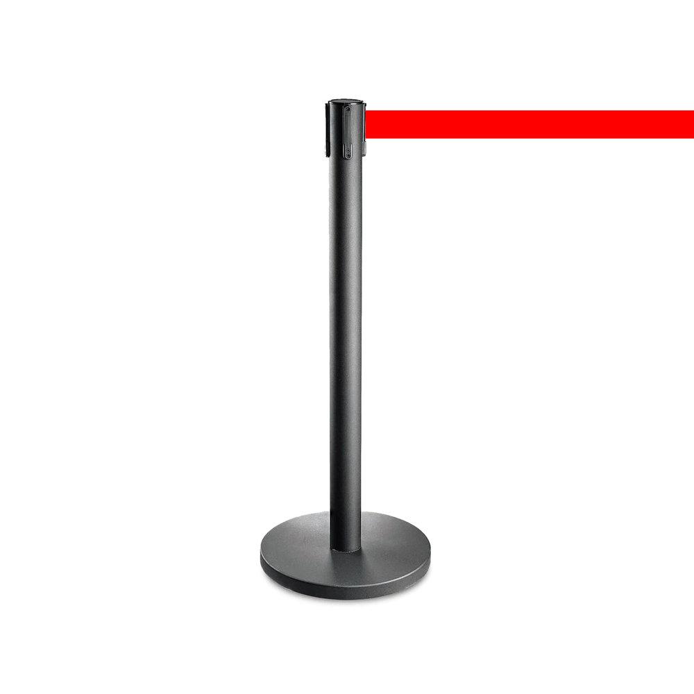 Afzetpaaltje zwart met rood trekband