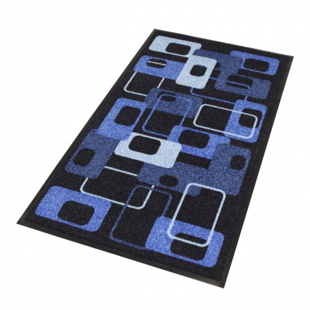 Artistieke deurmat zwart met blauw