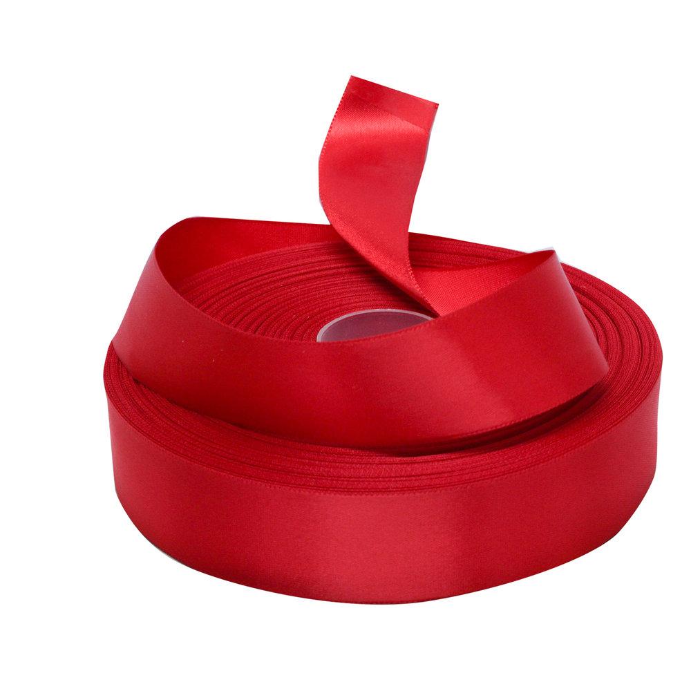 Satijnlint rood 25 mm