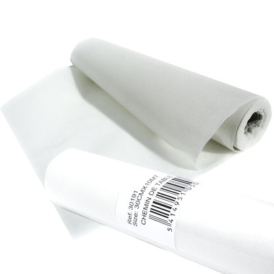 Papieren witte tafelloper L10 meter x B 30 cm