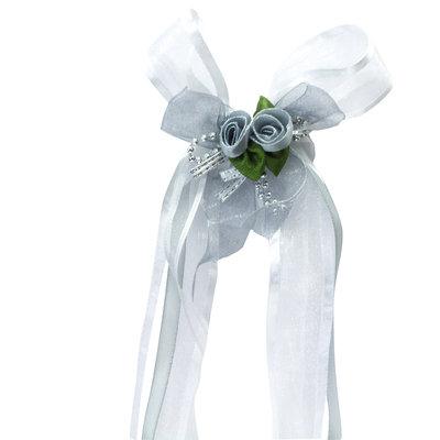 Autoversiering bruiloft wit met linten