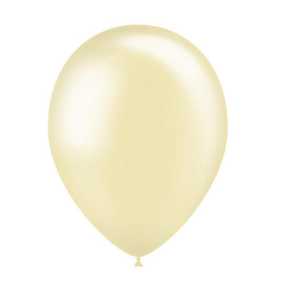 Ballonnen ivoor metallic 30cm blueflower