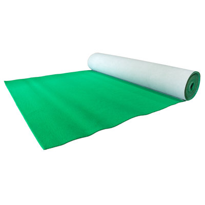 Groene luxe loper 2 meter breed met rubber onderrug