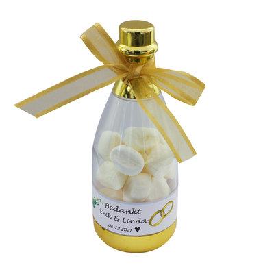Champagne flesjes goud of zilver- gevuld met snoepjes