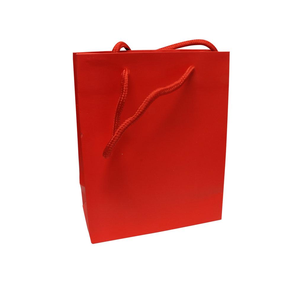 Goodiebag rood tasje 17 x 14 +7 cm
