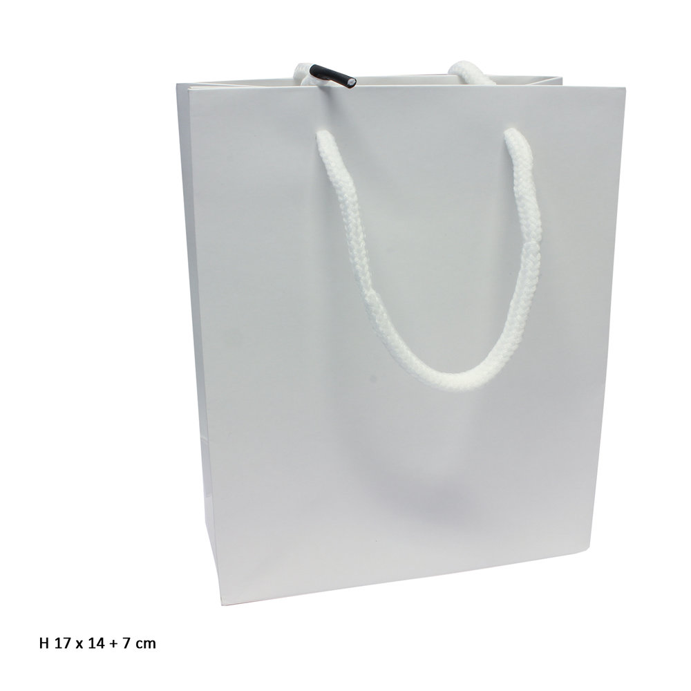 Goodiebag wit tasje 17 x 14 + 7 cm