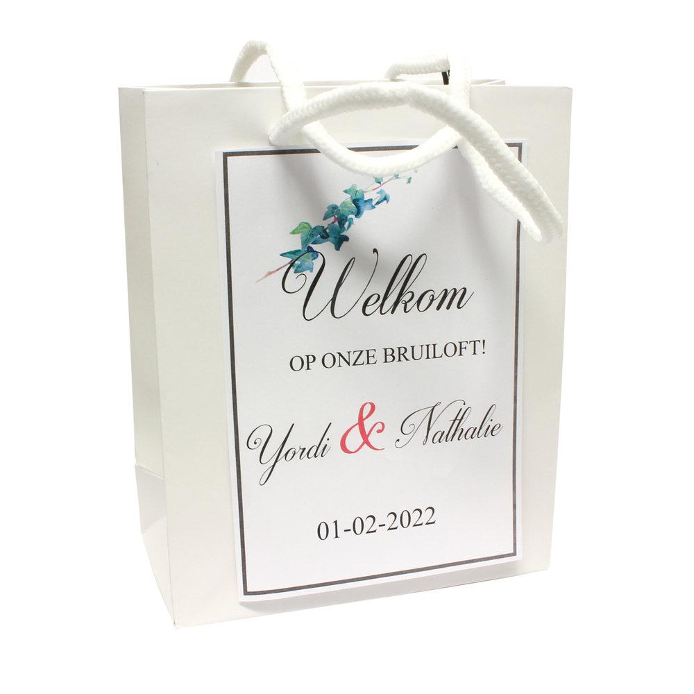 Goodiebag bruiloft tasje 17 x 14 + 7 cm