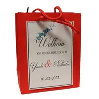 Goodiebag bruiloft rood tasje 17 x 14 +7 cm