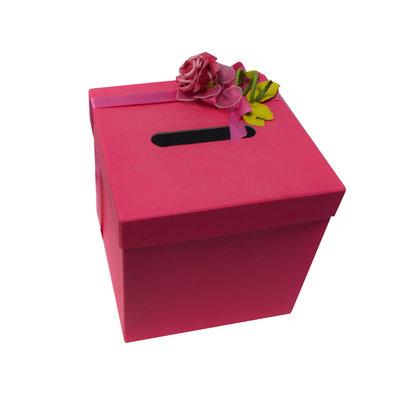 Enveloppendoos fuchsia met roze bloemen