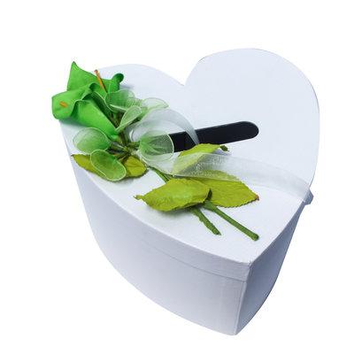 Enveloppendoos wit gedecoreerd met groene lelies