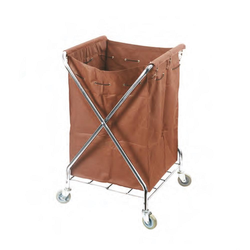 Wasgoedwagen met bruine wasgoedzak