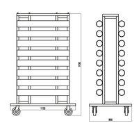 Transportkar voor afzetpaaltjes tekening